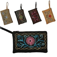 Floral faux suede simple purse