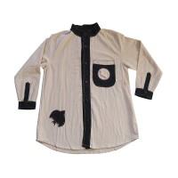 Cotton circle patch round-neck shirt