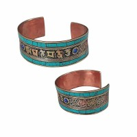 Turquoise setting Mantra-filigree bangle