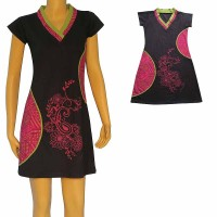 Contrast color prints patch dress