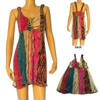 Panel joined tie-dye viscose dress