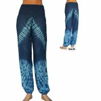 Blue tie-dye thin rayon trouser