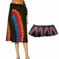 Tie-dye thin rayon wrapper skirt