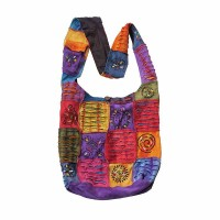 Tie dye layer cut and painted patches rib yogi bag