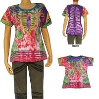 Layer cut patch work tie-dye rib T-shirt
