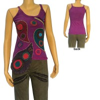 Patch over patch rib stone wash tank top