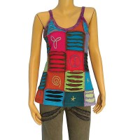 Layer cut patches hand embroidered rib tank top