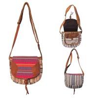 Leather mixed Gheri shoulder bag