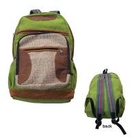 Leather and hemp front Gheri backpack
