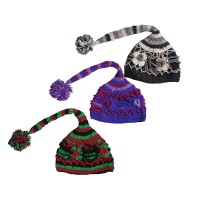 Flower-net layer woolen crochet tail cap