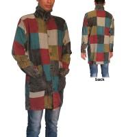Cotton patch work high neck long shirt