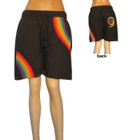 Rainbow stripes cotton shorts