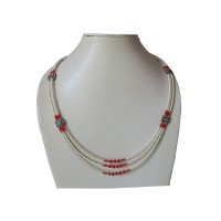 Pearl pote beads Tibetan necklace