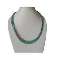 Turquoise pipe beads Tibetan necklace
