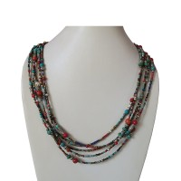 Colorful assorted beads Tibetan necklace