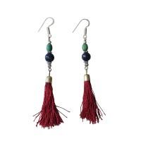 Beads and silk yarn earring