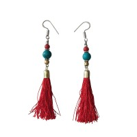 Coral-turquoise beads silk yarn earring