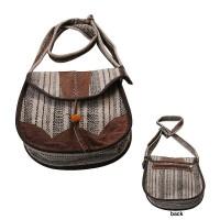 Leather piping hemp-cotton ladies bag