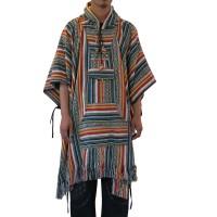 Colourful stripes Gheri long poncho