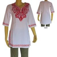 Embroidered cotton white kurtha top3
