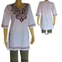Embroidered cotton white kurtha top4