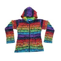 Rainbow stripes bubble prints rib hoodie