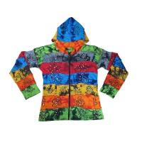 Tie dye stripes painted rib hoodie