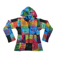 Patch work layer cut light color hoodie2