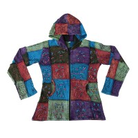 Painted stone wash patch work hoodie