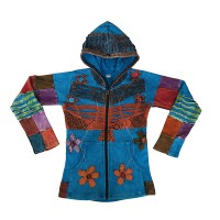 Flower embroidery patch work layer cut hoodie