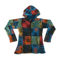 Razor-cut patch and prints hoodie1