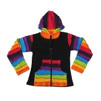 Rainbow design rib hoodie