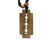 Traditional razor blade carved bone pendent