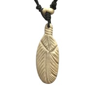 Feather design carved bone pendent
