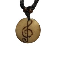 Music note carved bone pendent