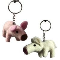 Pig design felt key ring