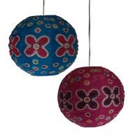 Wax print small ball lampshade2