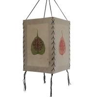 Om Mani on Bodhi leaf 4-fold lampshade