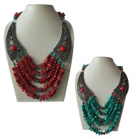Turquoise-coral beads necklace