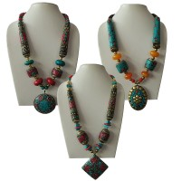 Decorated beads with pendent necklace