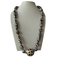 Dzi design large beads necklace