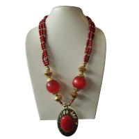 3-line mala necklace with decorated pendent