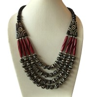 Multi shape bone  beads necklace