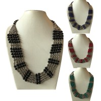 2-colour beads round necklace
