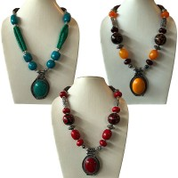 Amber and bone beads necklace with pendent