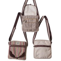 5-zipper hemp-cotton side bag
