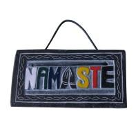 Coloured NAMASTE carved small stone panel