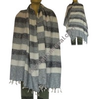 Grey-black stripes shawl