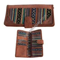 Leather-Gheri cotton wallet purse