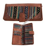 Leather-Gheri cotton wallet purse